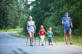 Participants during of local competitions in Nordic walking — Стоковое фото