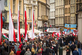 Unidentified participants celebrating National Independence Day an Republic of Poland — Stock Photo