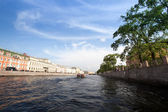 On boat along channels city — Stockfoto