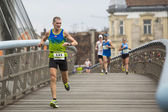 Unidentified participants during the annual Krakow international Marathon — Stock Photo