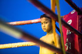 Unidentified young Muaythai fighter in ring during match — 图库照片
