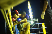 Unidentified young Muaythai fighters in ring during match — Stok fotoğraf