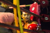 Unidentified Muaythai fighter in the ring — Stock Photo