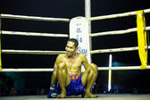 Unidentified Muaythai fighter in ring during match — Стоковое фото