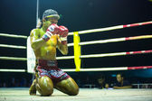 Unidentified Muaythai fighter in ring during match — Foto Stock
