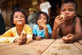 Unidentified children Orang Asli in his village — Stock Photo