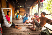 Unidentified people Orang Asli in his village — Foto Stock