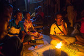 Unidentified people Orang Asli during a ceremonial dinner — Stockfoto