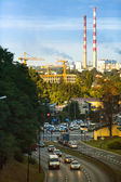 Traffic in the evening city — Stock Photo
