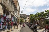 Atenienses e turistas no centro da cidade — Fotografia Stock