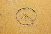 Symbol Pacifik Inscription on sand — Stock Photo