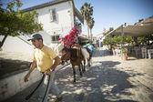 Man leads a donkey at the Greek island — Stock Photo