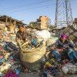 Постер, плакат: People working in sorting of plastic on the dump