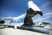 Flugzeug antonov an-124 ruslan volga-dnepr — Stockfoto