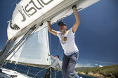 "Sailors  in sailing regatta ""11th Ellada 2014"" — Stock Photo"