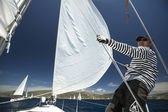 "Sailor  in sailing regatta ""11th Ellada 2014"" — Stock Photo"