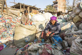 Unidentified people sorting a plastic on the dump — Stockfoto