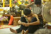 Unidentified monk makes traditional Yantra tattooing — Stockfoto