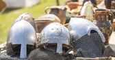 Medieval knight's helmets — Stock Photo