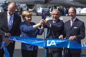 Angela Merkel  at aviation and space exhibition — Stock Photo
