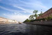 On boat along channels city,SPb, Russia — Stock Photo