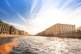 On boat along channels city,SPb, Russia — Foto Stock