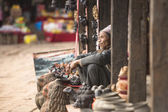 Nepalese sellers souvenirs — Stock Photo