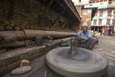 Nepalese man working in pottery workshop — Stock Photo