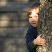 Little boy peeking from behind tree — Stock Photo