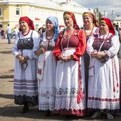 People celebrating day of the city Tikhvin — Stock Photo