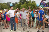 Head of Tikhvin region agitate people to sports — Stock Photo