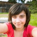 Teengirl taking a self-portrait — Foto de Stock