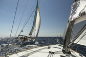 Unidentified sailors participate in sailing regatta — Stock Photo
