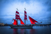 Frigate participated in Scarlet Sails festival — Stock Photo