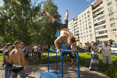 Participants on Street workout competitions — Stock Photo