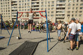 Participants on Street workout competitions — Stock fotografie