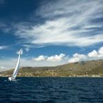 Boat in sailing regatta — Stock Photo