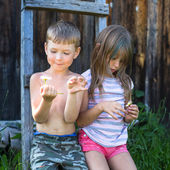 Boy and girl with daisy near house — Stock Photo