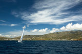 Boat in sailing regatta — Stock Photo