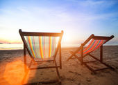 Loungers on the beach — Stock Photo