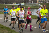 Participantes durante a maratona anual de cracóvia. — Fotografia Stock