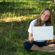 Teen-girl holding clean sheet paper — Stock Photo #51311305