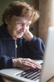 Old woman working on the computer. — Stock Photo