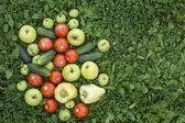 Frutas e legumes deitado na grama — Fotografia Stock