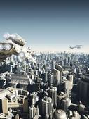 Future City Under Attack — Stock Photo