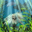 Stock Photo: Green and Blue Mermaid Peering through Seaweed