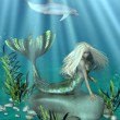 Stock Photo: Green and Blue Mermaid Underwater