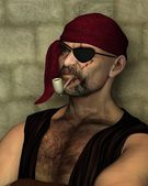 Old Pirate with Clay Pipe — Stock Photo