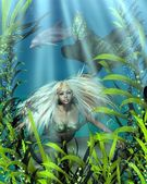 Green and Blue Mermaid Peering through Seaweed — Stock Photo