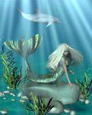 Green and Blue Mermaid Underwater — Stock Photo